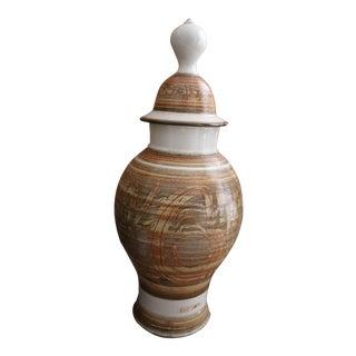 Large Mid Century Studio Ceramic Vase in Geometric Earth Tones For Sale
