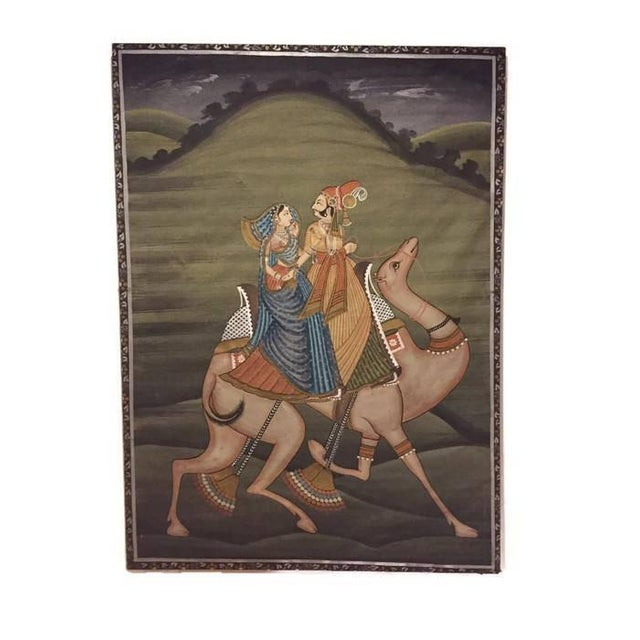 """Mid Century Modern India Silk Painting Camel Ride - 45"""" For Sale - Image 11 of 11"""