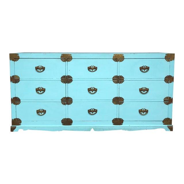 Antique Korean Dresser Campaign in Tiffany Blue For Sale