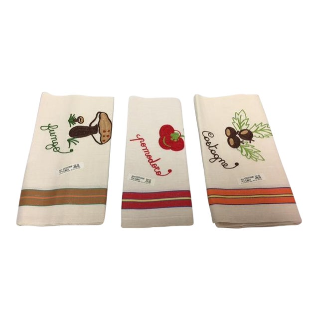 Vintage Italian Linen Kitchen Towels - Set of 3 - Image 1 of 5