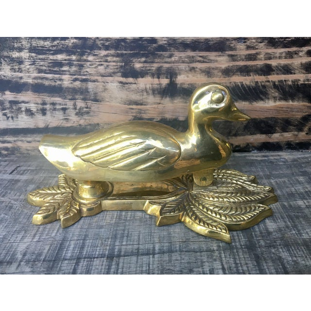 American Classical Vintage Brass Duck Door Knocker For Sale - Image 3 of 8