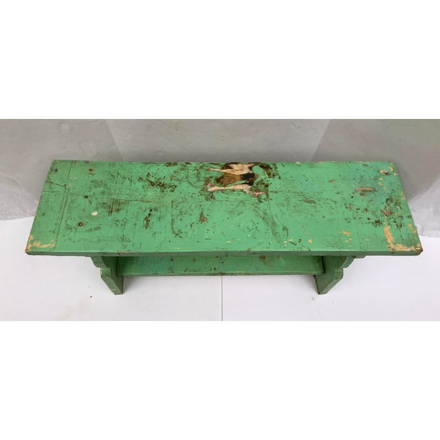 1800s French Country Farmhouse Painted Bucket Bench For Sale In Dallas - Image 6 of 12