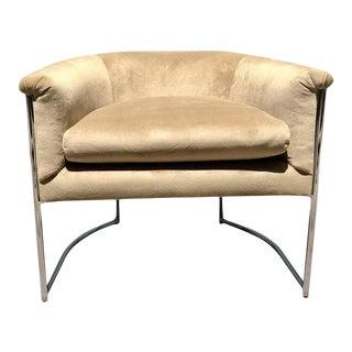 1960s Mid Century Modern Mid Century Modern Velvet & Chrome Chair For Sale