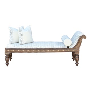 Beautiful Block Print Linen Upholstered Chaise Lounge For Sale