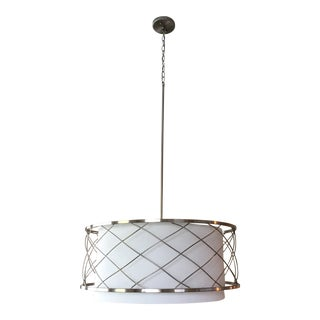 Large Pendant Drum Chandelier in Silver With White Linen Shade For Sale