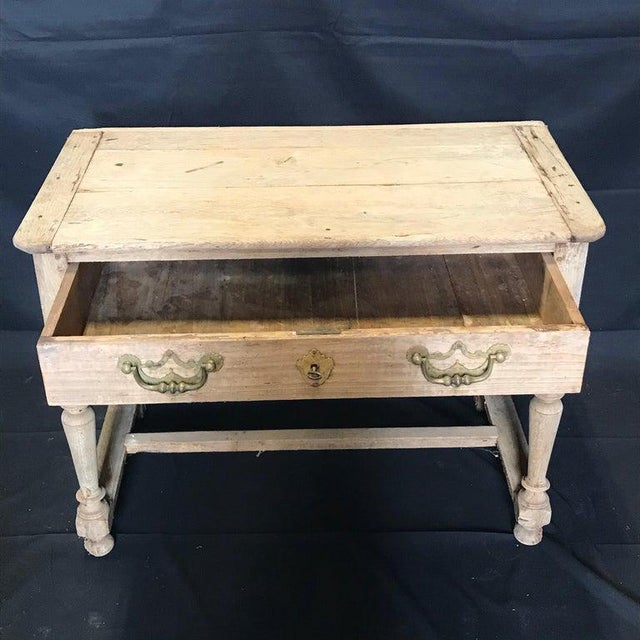 Wood French Rustic Naturally Distressed Two Drawer Console Table Commode For Sale - Image 7 of 12