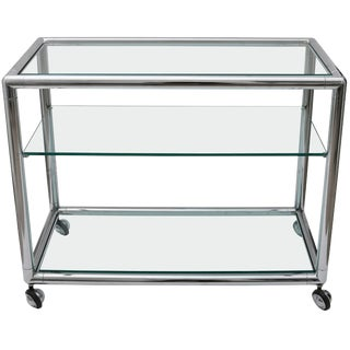 Polished Chrome & Glass Bar Cart by Pace For Sale