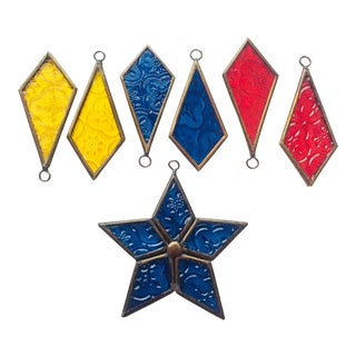 Stained Glass Christmas Decorations - Set of 7