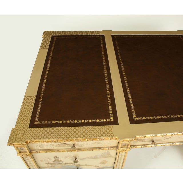 Late 20th Century Chinoiserie Hand-Painted Parcel Gilt Partners Pedestal Desk For Sale - Image 5 of 12