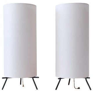 Pair of Iron and Linen Cylinder Table Lamps, 1950s For Sale
