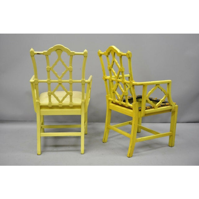 Chinoiserie Hollywood Regency Yellow Fretwork Armchairs - a Pair For Sale - Image 11 of 11