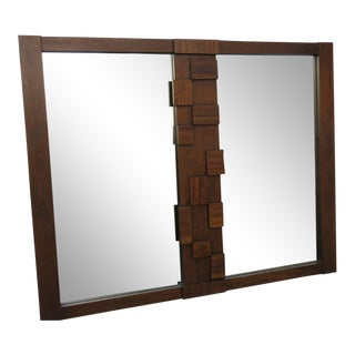 Lane Brutalist Mid Century Modern Wall Bathroom Vanity Mirror For Sale