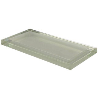 Jean Luce Art Deco Thick Mirrored Glass Slab Desk Accessory Tray Platter For Sale