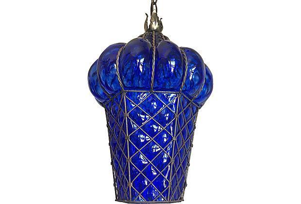 Murano Caged Glass Pendant Lights A Pair Chairish