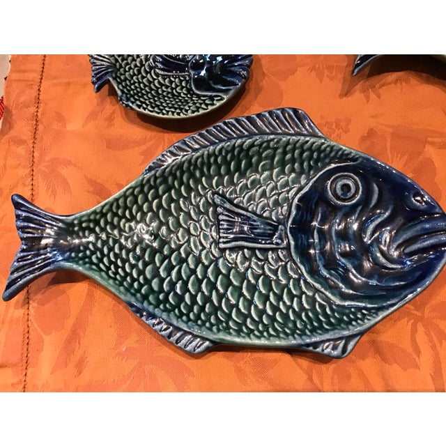 Late 20th Century Vintage Olfaire Majolica Ceramic Fish Serving Dishes - Set of 5 For Sale - Image 5 of 11