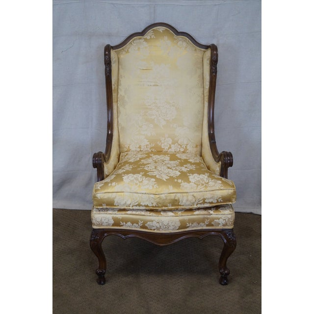 Louis XV Carved Walnut Wing Chair - Image 2 of 10