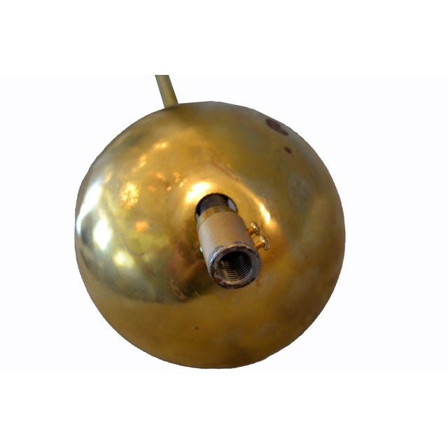 Italian Modern Round Brass and Ten Opaline Glass Globe Chandelier For Sale - Image 9 of 9