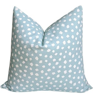 Cleopatra Spot Animal Print in Aqua Pillow Cover For Sale