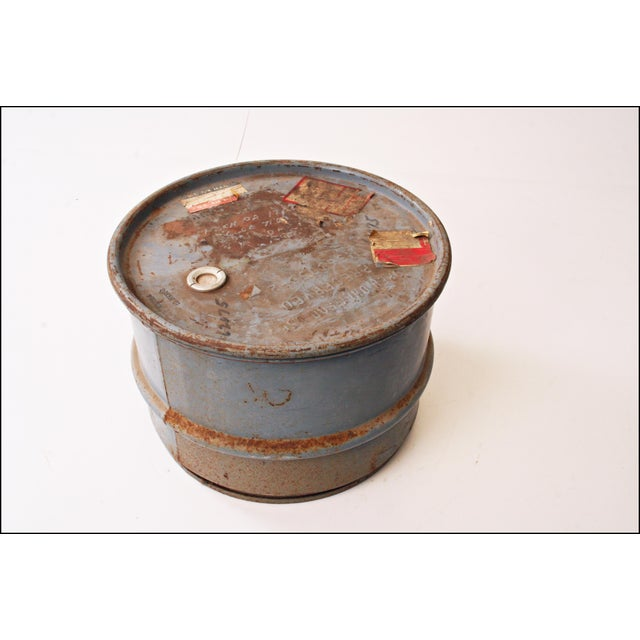 Vintage Industrial Gray Metal Barrel with Lid - Image 4 of 11