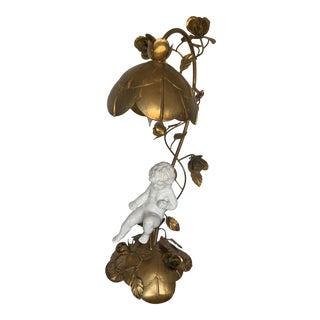 1970s Vintage Italian Tole Sculpture Cherub Lamp For Sale