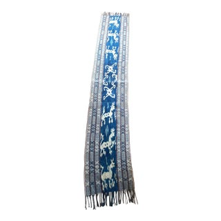 1930s Long Indigo Dyed Handwoven Ikat Handmade Textile From Sulawesi, Indonesia For Sale