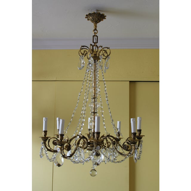 19th Century Maison Bagues Palm Motif Eight Light Crystal & Bronze Chandelier = Neoclassical Style For Sale - Image 13 of 13