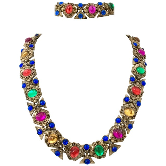 20th Century Gilt Gold Metal & Poured Glass Cabochon Stone, Paste Set Link Choker Style Necklace & Bracelet In The Style...