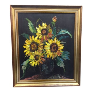 Original Signed Sunflower Oil Painting For Sale