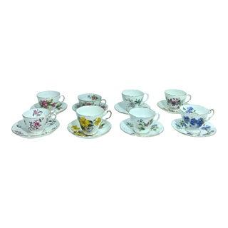 Vintage Mismatched Bone China Teacups & Saucers - Set of 8 For Sale
