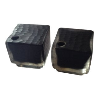 Square Glass Bud Vases - A Pair For Sale