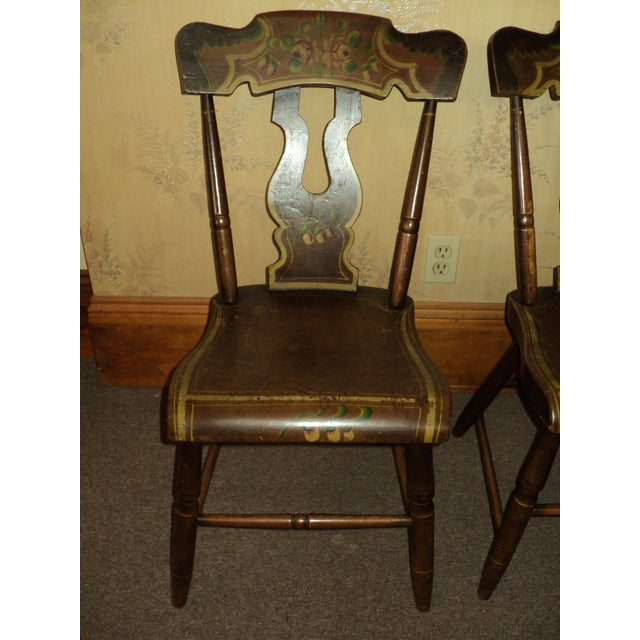 Lovely set of 6 Hitchcock style Dining chairs, (no maker name). They are in good original condition with typical minor...