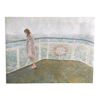"""1970s """"Ferry Commuter"""" A. Jones Painting For Sale"""