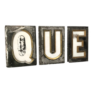 Antique Metal and Milk Glass Marquee Letters - Set fo 3 For Sale