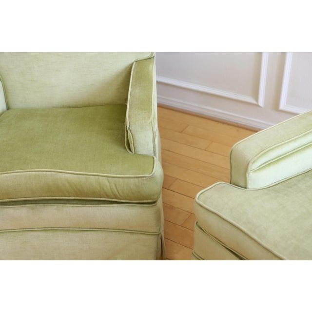Mid-Century Modern Green Velvet Club Chairs - A Pair - Image 5 of 9