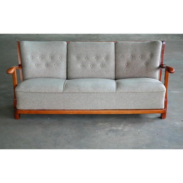1940s Fritz Hansen 1940's Model 1594 Spindle Back Sofa Danish Midcentury For Sale - Image 5 of 13