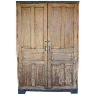 Antique Door Armoire/Wardrobe or Cabinet With Iron Banding For Sale