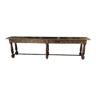 Huge 11' Long 18c Style French Country Designer Console Table For Sale