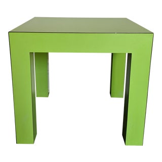 1980s Vintage Milo Baughman Style Lime Green Laminate Parsons Side Table For Sale