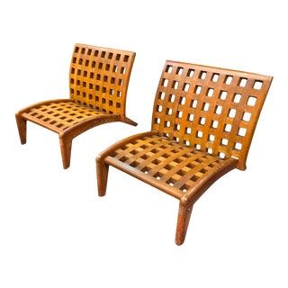 Rene Gabriel Rare Pair of Oak Slipper Lounge Chair