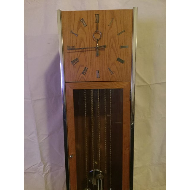 George Nelson Vintage Mid Century Modern Oak and Chrome Pendulum Grandfather Clock For Sale - Image 4 of 11