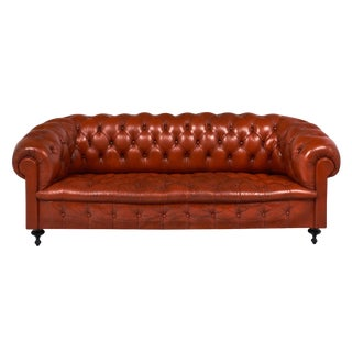 Vintage Orange Leather Chesterfield Sofa For Sale