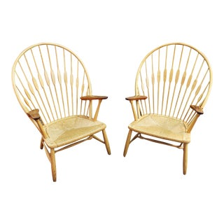 Pair of Hans Werner Peacock Chairs Produced by Johannes Hansen For Sale