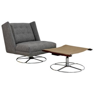 Mid-Century Modern Low Gray Swivel Chair and Ottoman Chrome Base For Sale