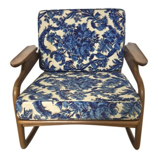 1950s Mid Century Modern Blue Floral Rocking Chair