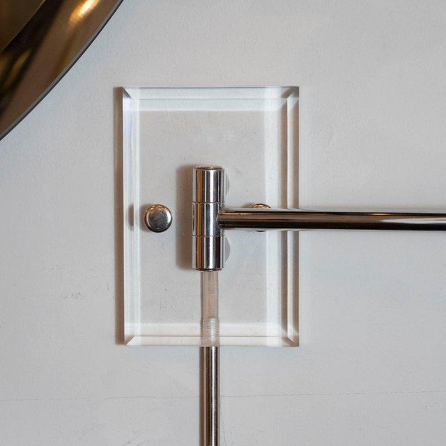 1970s Mid-Century Modern Polished Chrome and Lucite Swing Arm Sconces - a Pair For Sale - Image 5 of 9