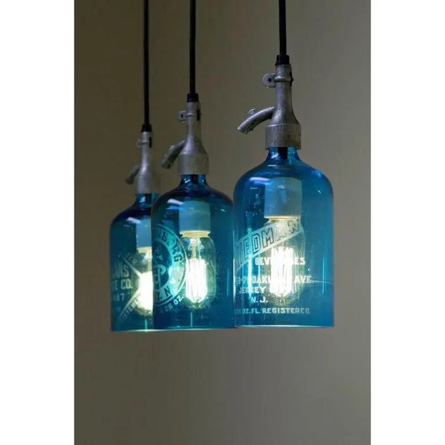 1940s Seltzer Bottle Pendant Light, Clear or Blue Glass For Sale - Image 5 of 8