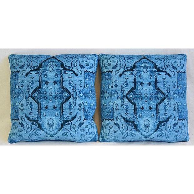 "Ralph Lauren Royal Blue Velvet Tapestry & Edelman Leather Pillows 20"" Square - Pair For Sale - Image 11 of 12"