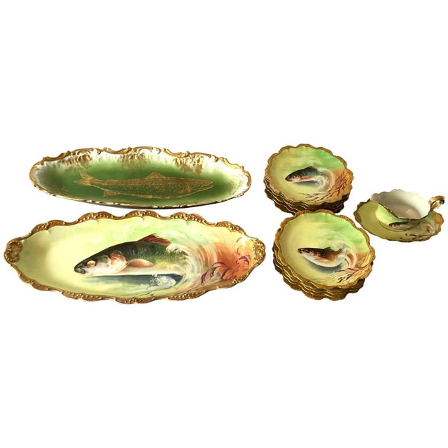 Limoges Hand-Painted Fish Service - Set of 15 - Image 1 of 10