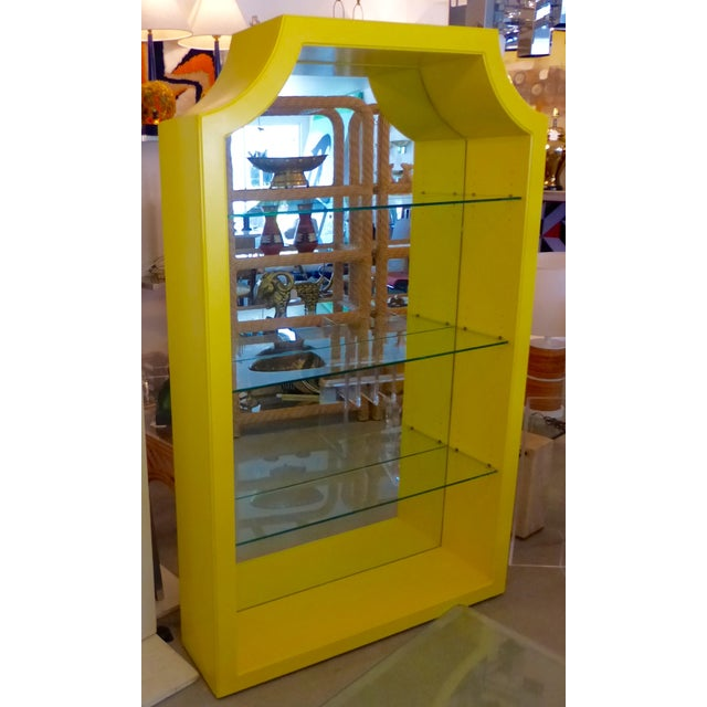 Mirrored Etagere Cabinet Glass Shelves Yellow - Image 5 of 7