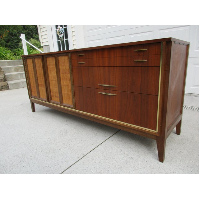 Brass Mid Century Walnut Triple Dresser with Reversible Cane Side Panels For Sale - Image 7 of 11